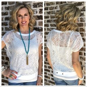 Cabi Lace Top Size M